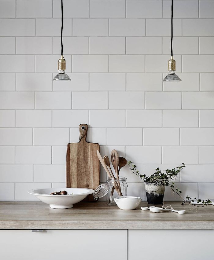 subway tiles - swedish apartment | kitchen vignette