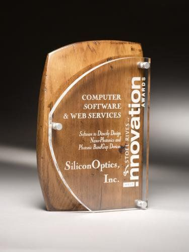 """Acrylic award accented with rustic brown alder wood, Acrylic is a 3/8"""" acrylic front piece, the combination of which creates a truly magnificent award in this artisan series. Laser engraved to a frost white color. Full color imprinting available as an optional imprinting method for this acrylic award."""