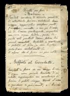 una pagina del ricettario di Costanza Croce Porta (1874; archivio Concetta Mattucci, Pesaro)