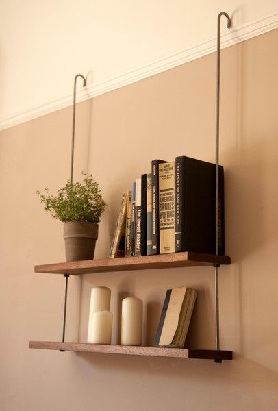Shelves that Hang from Picture Rail-I can visualize adapting this without the expense.