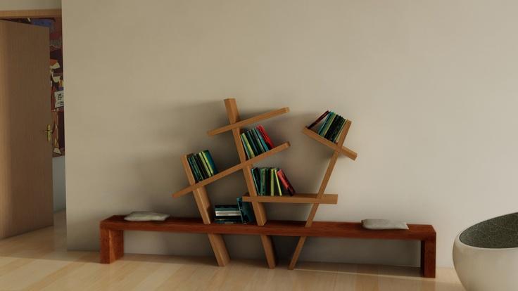 """Titolo: """"Mikado""""  """"Mikado"""" è una panca-libreria interamente realizzata in legno massello. Per la sua realizzazione non è previsto l'utilizzo di colle, vernici o parti metalliche, nel rispetto della filosofia progettuale alla quale si ispira, ovvero il progettare usando esclusivamente materiali naturali."""