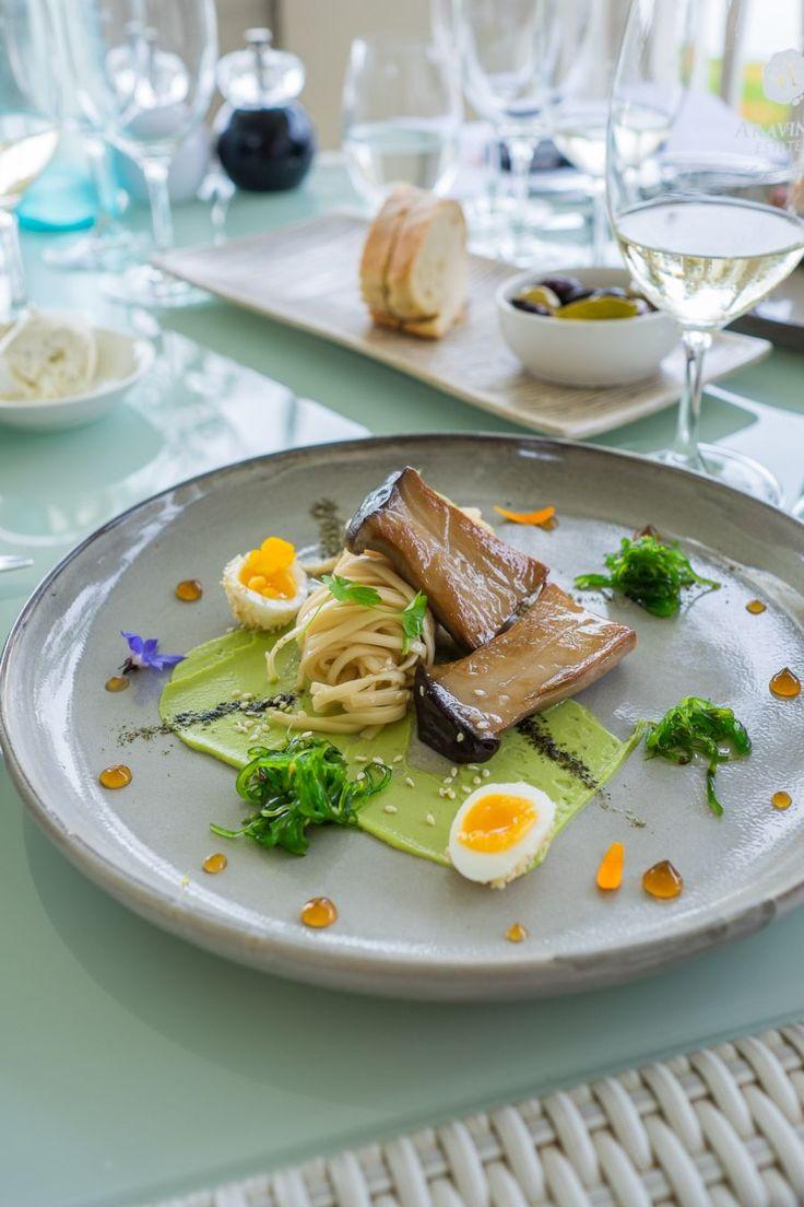 Sandra's vegetarian delight, with king oyster mushroom, noodles, avocado, sesame quail egg, wakame and soy gel