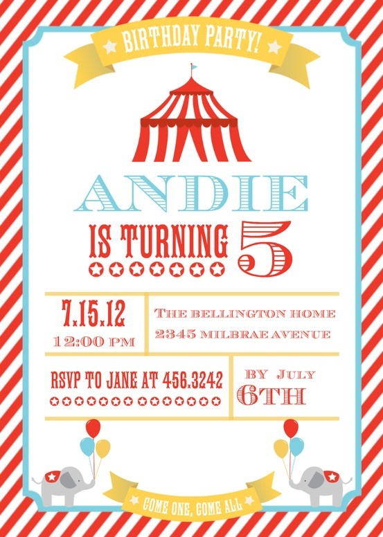 25 best ideas about Circus party invitations – Circus Party Invites