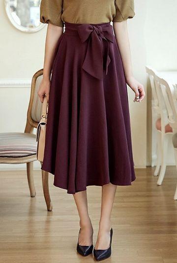 Back Banding Ribbon Flared Long Skirt | Korean Fashion