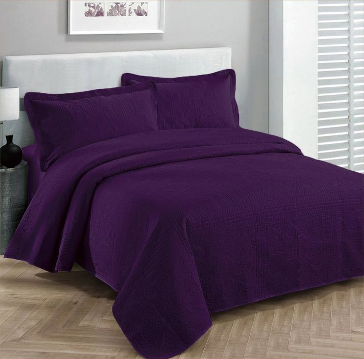 3pc Bedspread Coverlet Embossed Bed Cover Solid Drak Purple King/california King #FancyLinen