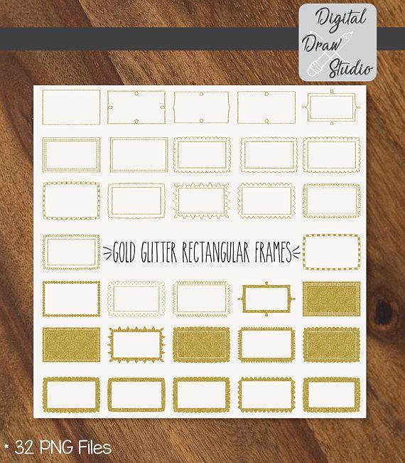 32 Gold Glitter Rectangular Frames Clip Art  Hand Drawn
