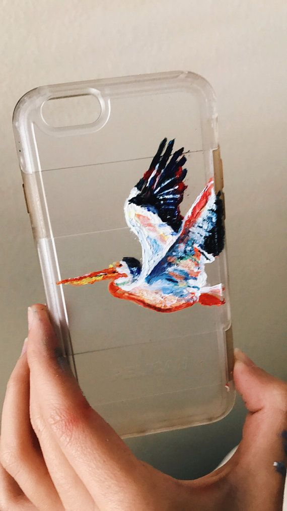 Pelican Painted Case  #pelican #art #handmade #acrylics #unique #phone #case #custom #phonecases #pelican #phone #case #abstract  #clear #etsy #aesthetic