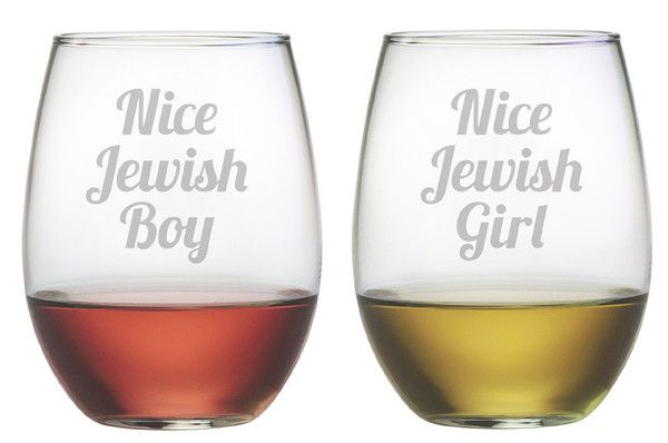 Nice Jewish Boy and Nice Jewish Girl are hand etched on these stemless wine glasses, makes a unique gift.