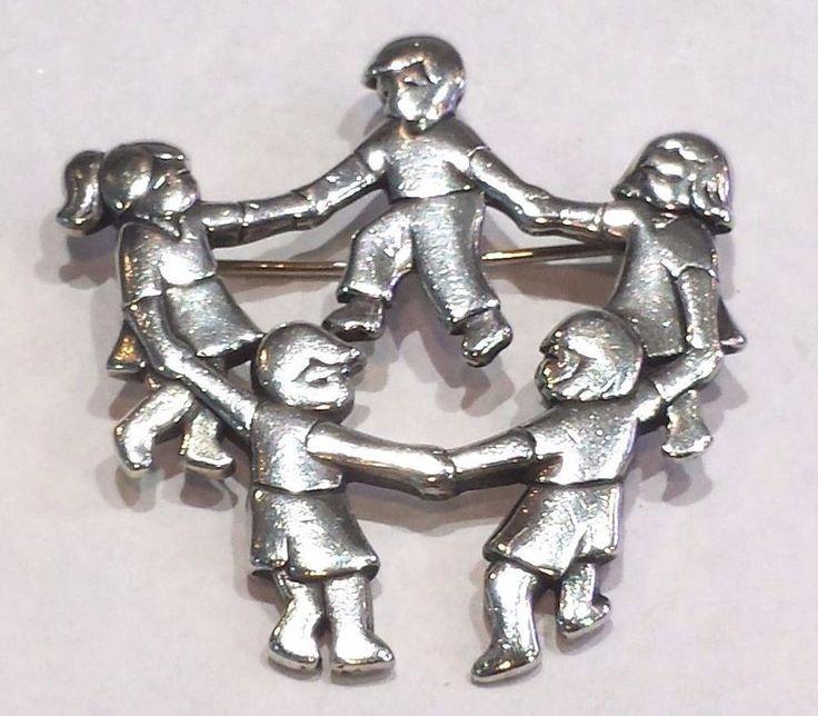 James Avery Sterling Silver Dancing Children Brooch Pin