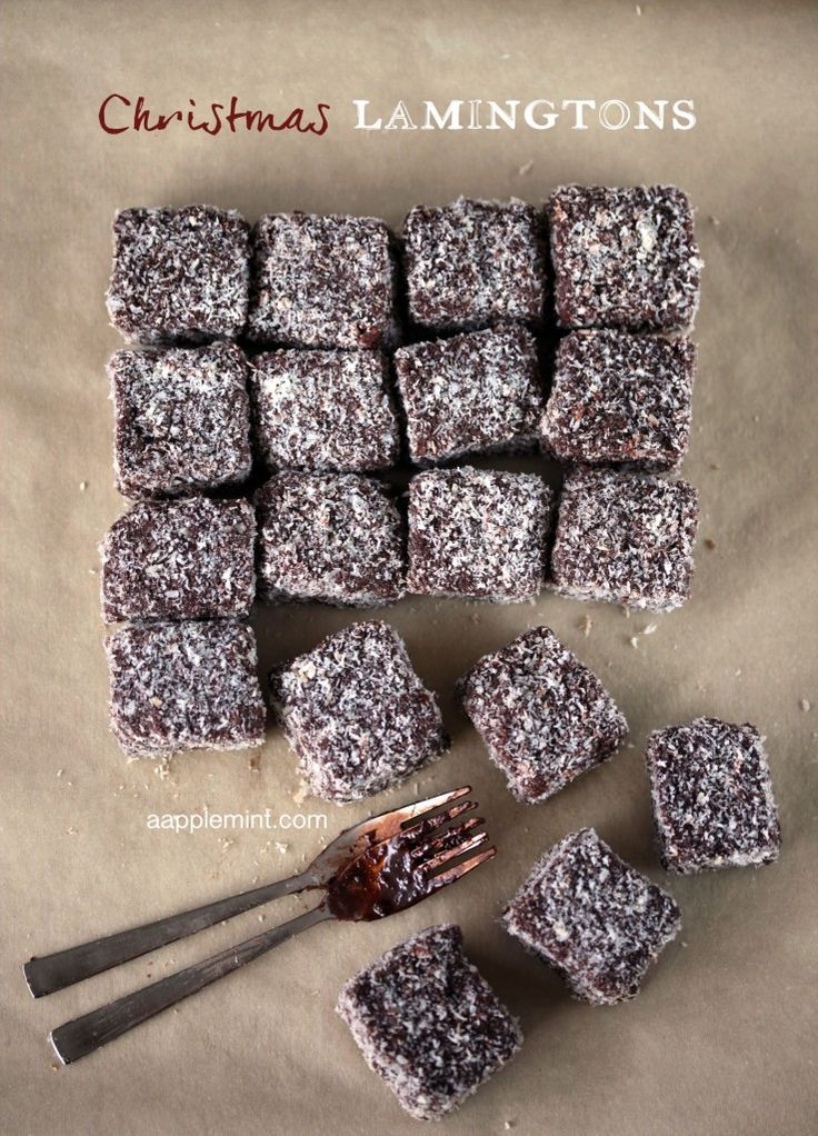 Christmas Lamington (A tasty treat commonly found in Australia and New Zealand. a cube of sponge cake coated in chocolate and dried coconut.)