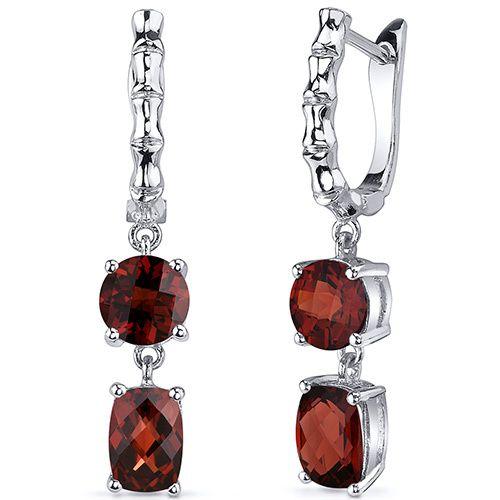 French Clip 4.50 Carats Garnet Cut Earrings in Sterling Silver Style SE8152, $79
