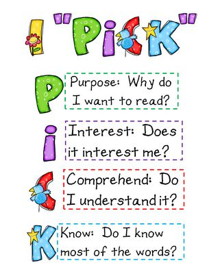"The IPICK Rule for finding a ""Good Fit"" Book! - Miss Olson's 3rd Grade Class! - Use first... 5 finger rule for K"