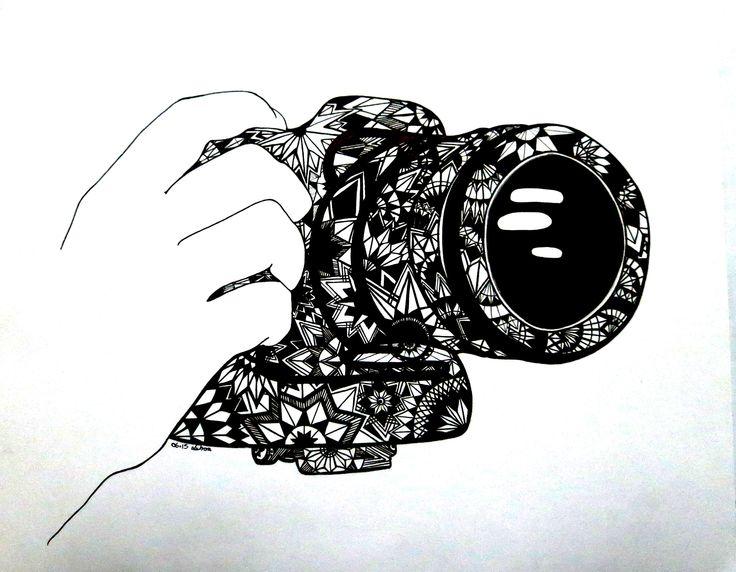 Commission of a Canon camera in zentangle stars. Portia Subran