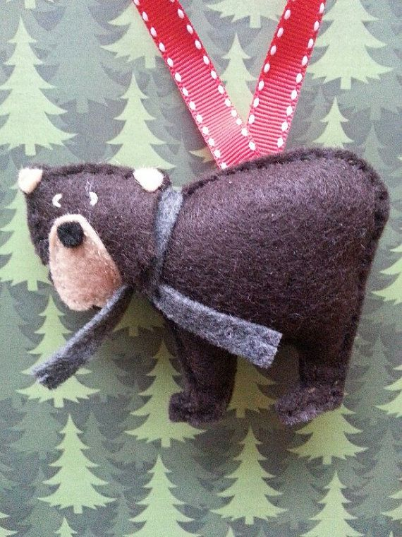 Felt Bear Ornament by ZillyGrilDesigns on Etsy
