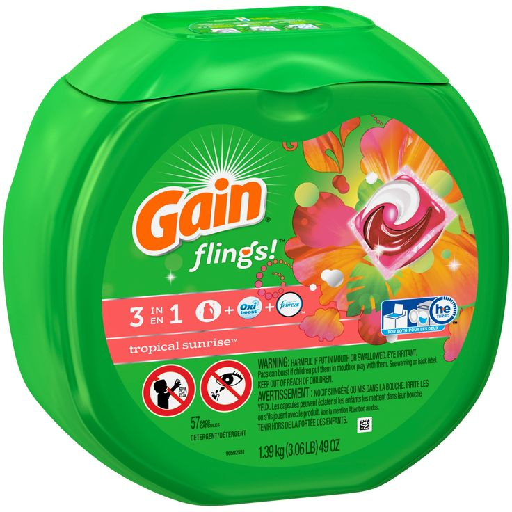 Gain Flings! Laundry Detergent Pacs, Tropical Sunrise, 57 count