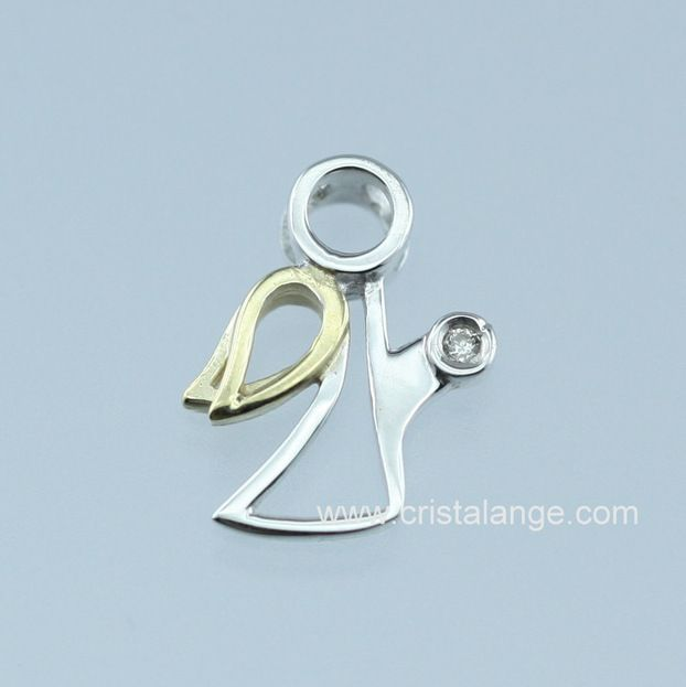 Pendentif ange or 585 blanc & jaune et diamant - Cristalange le spécialiste des bijoux anges gardiens
