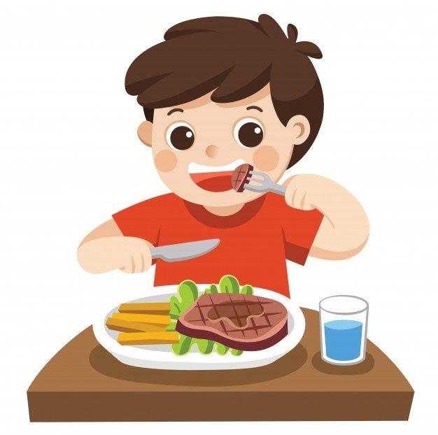 Un Chico Lindo Esta Comiendo Bistec Con Premium Vector Freepik Vector C Dibujos Animados De Personas Personas Comiendo Imagenes Infantiles De Animales
