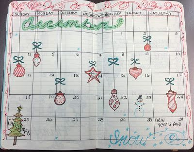December Bullet Journal Month on Two Pages Layout and Flip Through | BuJo | The Green Notebook