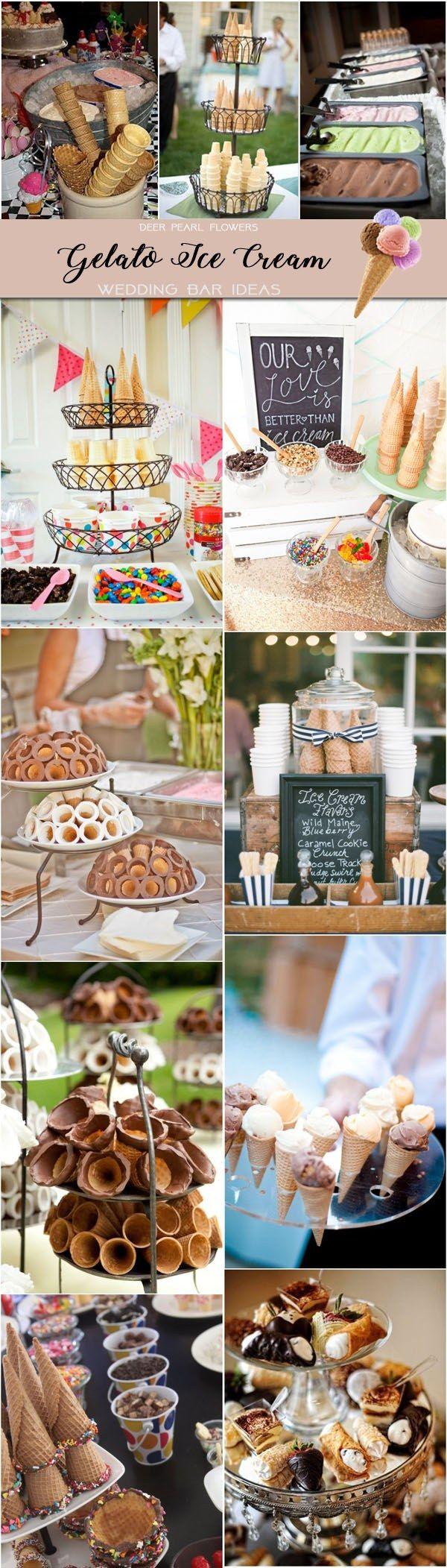 gelato ice cream wedding dessert food bar ideas / http://www.deerpearlflowers.com/wedding-catering-trends-dessert-bar-ideas/