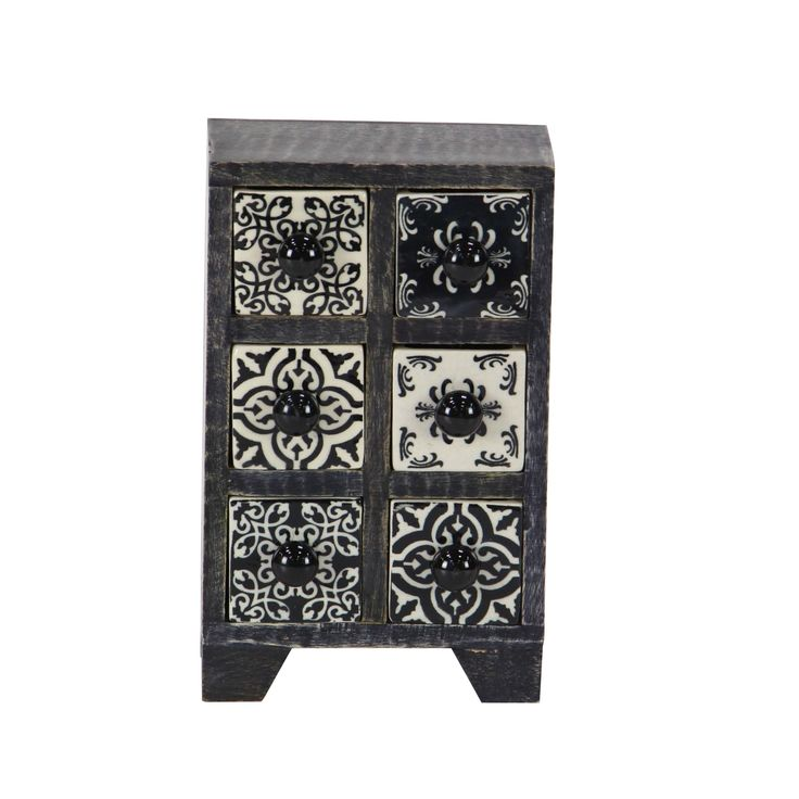 Studio 350 Traditional Rectangular Lattice-Patterned 6-Drawer Ceramic Jewelry Box