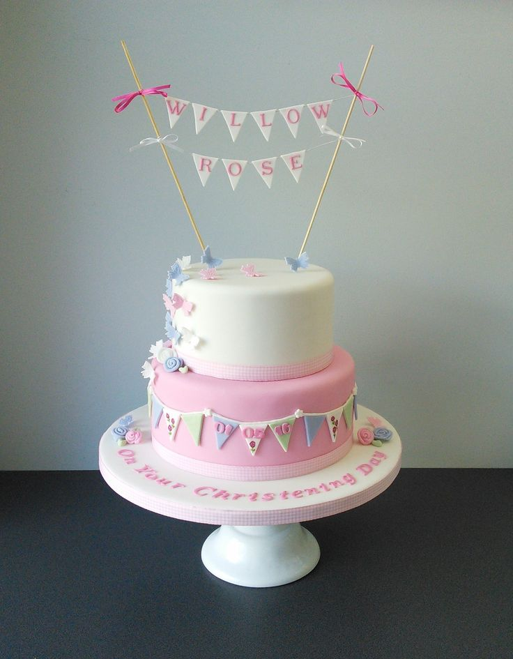 Vintage Girls Christening cake pink, pale green and pale blue. Bunting, flowers and butterflies
