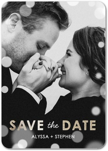 Sprinkled in Love - Signature White Photo Save the Date Cards - Petite Alma - Charcoal - Gray : Front