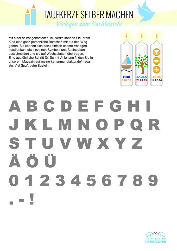 Vorlage: Buchstaben und Zahlen für die Taufkerze
