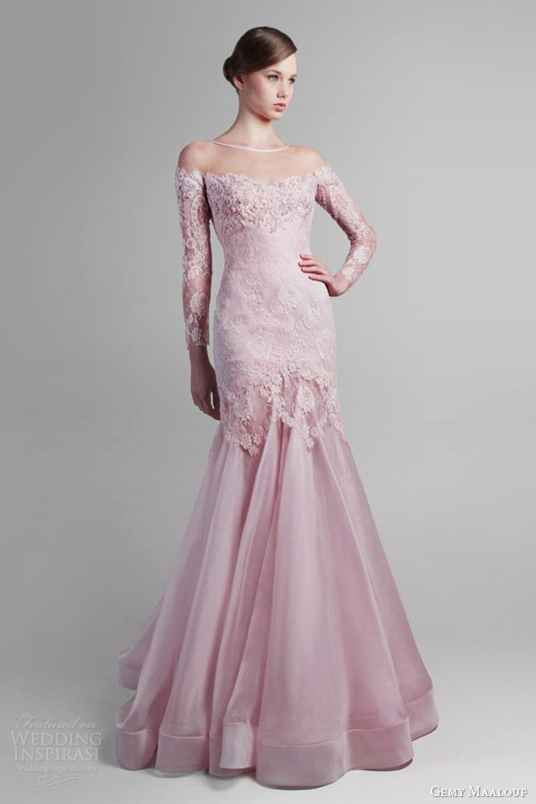 gemy maalouf couture spring 2014 pink long sleeve gown
