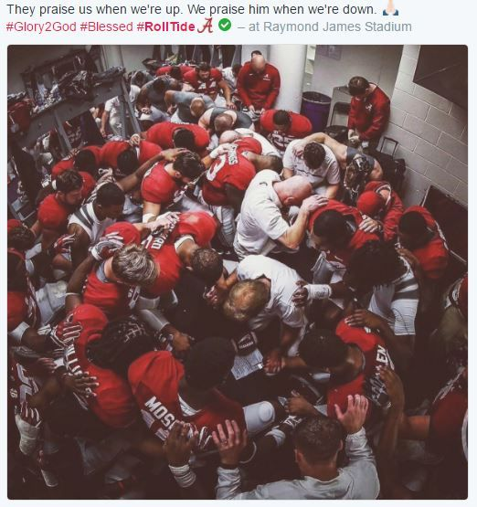 Locker room after 35-31 loss to Clemson in Nat'l Title game. Nothing but class! #RollTide #Bama