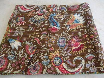 Tribal asiatischen Textilien Multi Print Queen Size Kantha Steppdecke, Kantha Decke, Bett, King Kantha Tagesdecke, Bohemian Betten Kantha Größe 228,6x 274,3cm 1077