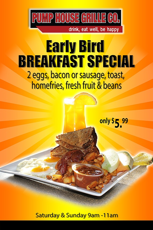 Early Bird Breakfast Special at The Pump House Grille Co.