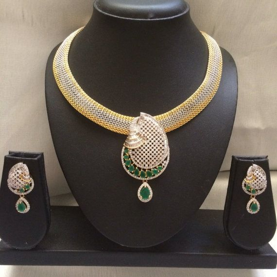 Green Indian Neckace  Hyderabadi indian necklace set  by MahrukhD