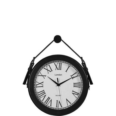 This decorative wall clock mimics the industrial style of 19th century London. The eclectic styling of a matte black strap suspends the clock above a fireplace mantel or office desk. A matte black finish accentuates the turn-of-the-century design elements of this classic timepiece.