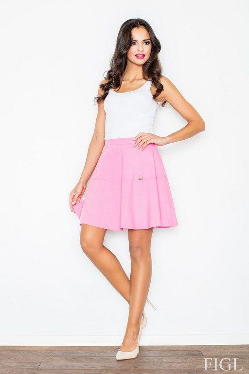 Różowa spódniczka z wyższym stanem