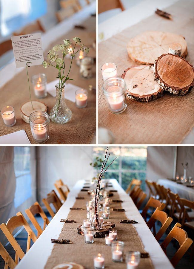 Cut wood...birch might be better.  Cotton/hessian as a table runner.  Empty baby food jars as candle holder.