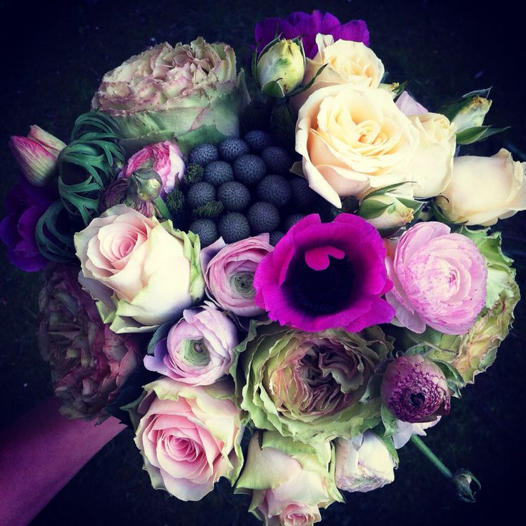 Bridal Bouquet • roses, ranunculus, anemones