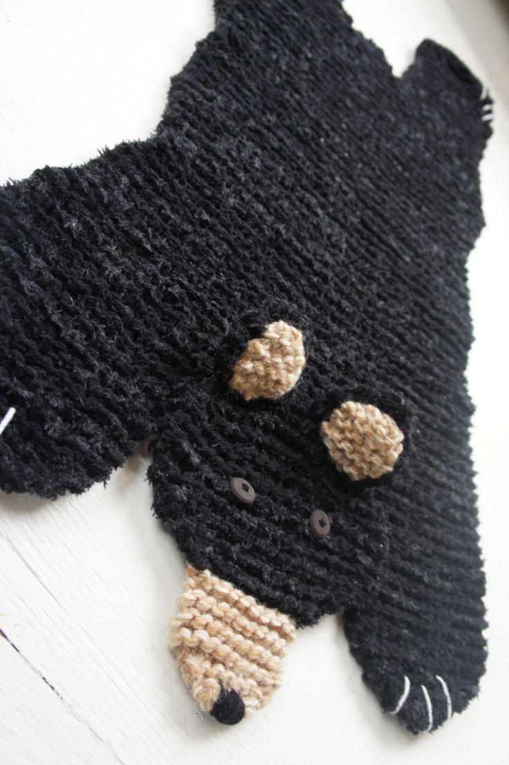 knitted bear rug