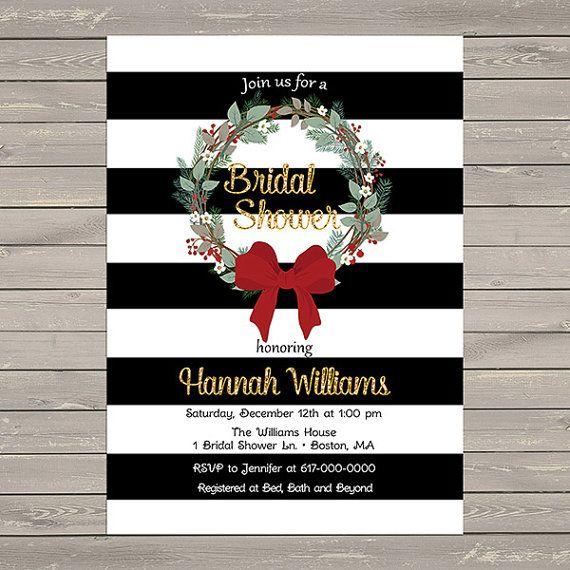 Christmas Bridal Shower Invitation Black by DesignedbyGeorgette