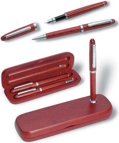 Luxe houten pennenset met logobedrukking