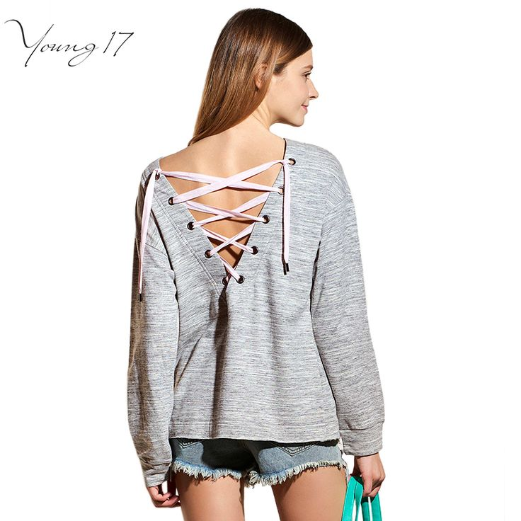 Young17 2017 Spring Lace Up Hoodies Pullover for Women Long Sleeve Sexy Backless Grey Women's Sweatshirt Casual Tracksuit Woman