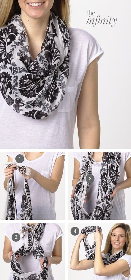 #Scarf #Knots - The infinity & others ways to tie a scarf.. http://www.lovelysilkscarves.com