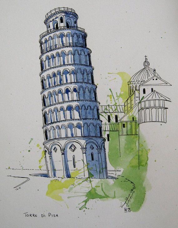 Torre di Pisa (Leaning Tower of Pisa), Italy. Original pen and watercolour painting.