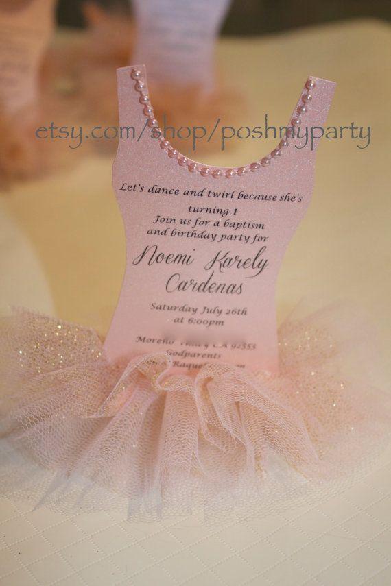 12 x Ballerina invitation Pink & Gold TUTU Invites by PoshMyParty, $43.00