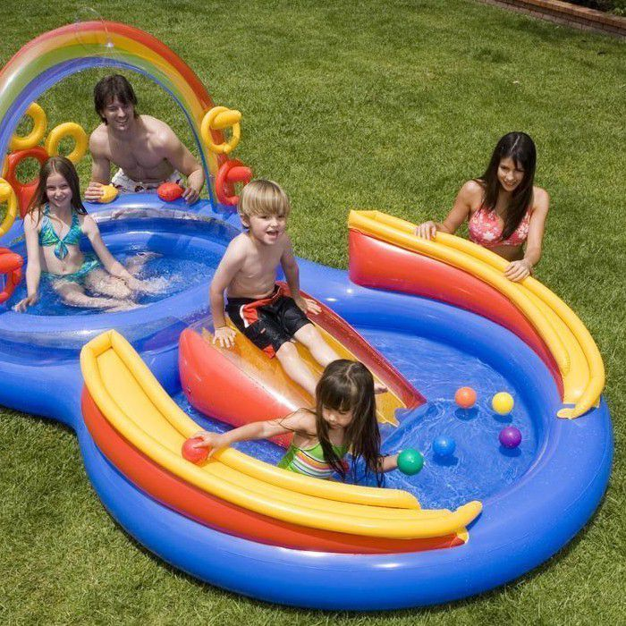 New Intex Rainbow Ring Pool Play Center Slide Pool Sprayer Ring Toss and other trending products for sale at petitive prices