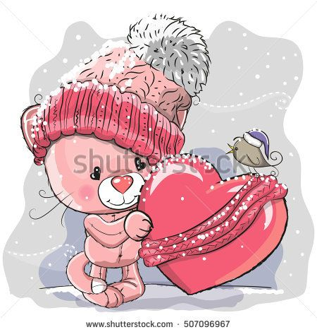 Cute Cartoon kitten in a knitted cap and a heart wrapped in a scarf