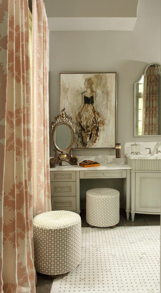 Images Photos midcentury vanity stools bathroom traditional with vanity mirror c surface mount ceiling tiles