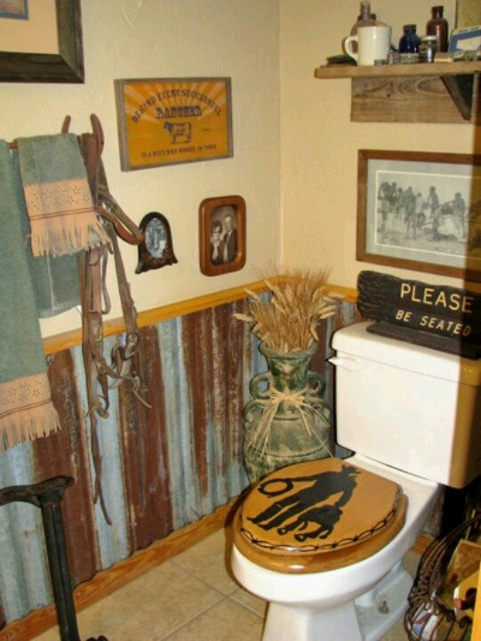 58 best barn wood tin old rustic hillnecky images on for Western bathroom ideas