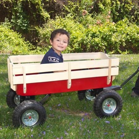 Wood Wagon ALL Terrain Pulling Red w/ Wood Railing Children Kid Garden Cart