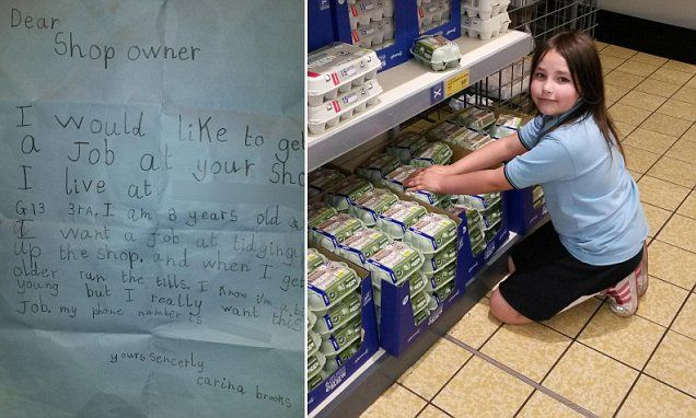 Girl, 8, lands 'job' at Aldi after impressing with handwritten note #DailyMail