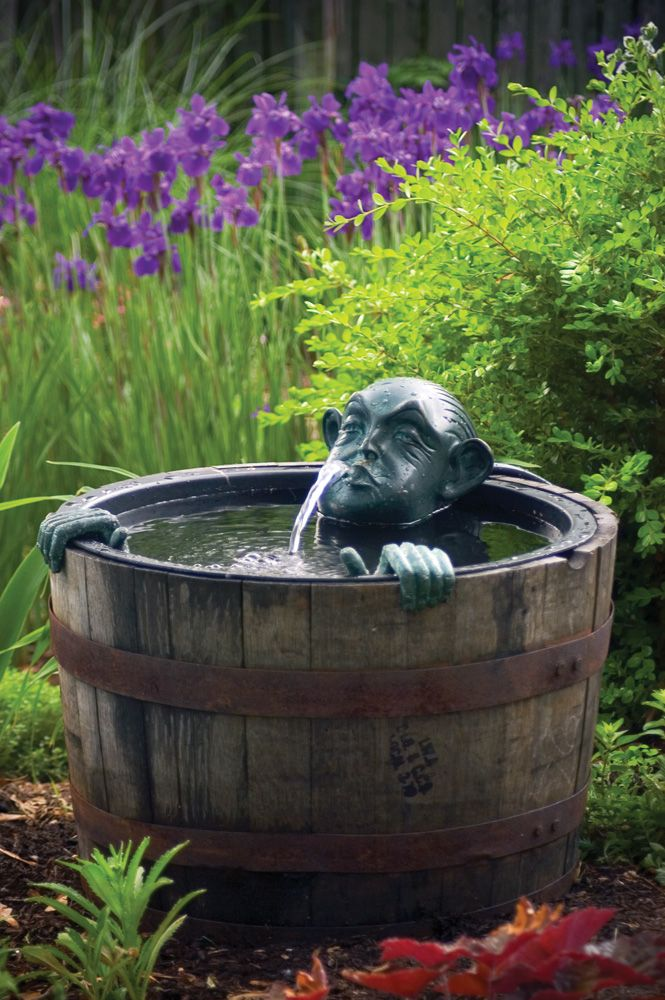 Merveilleux Fountains In The Garden, Outdoor Living, Ponds Water Features, Man In A  Barrel Adds Whimsy To The Garden